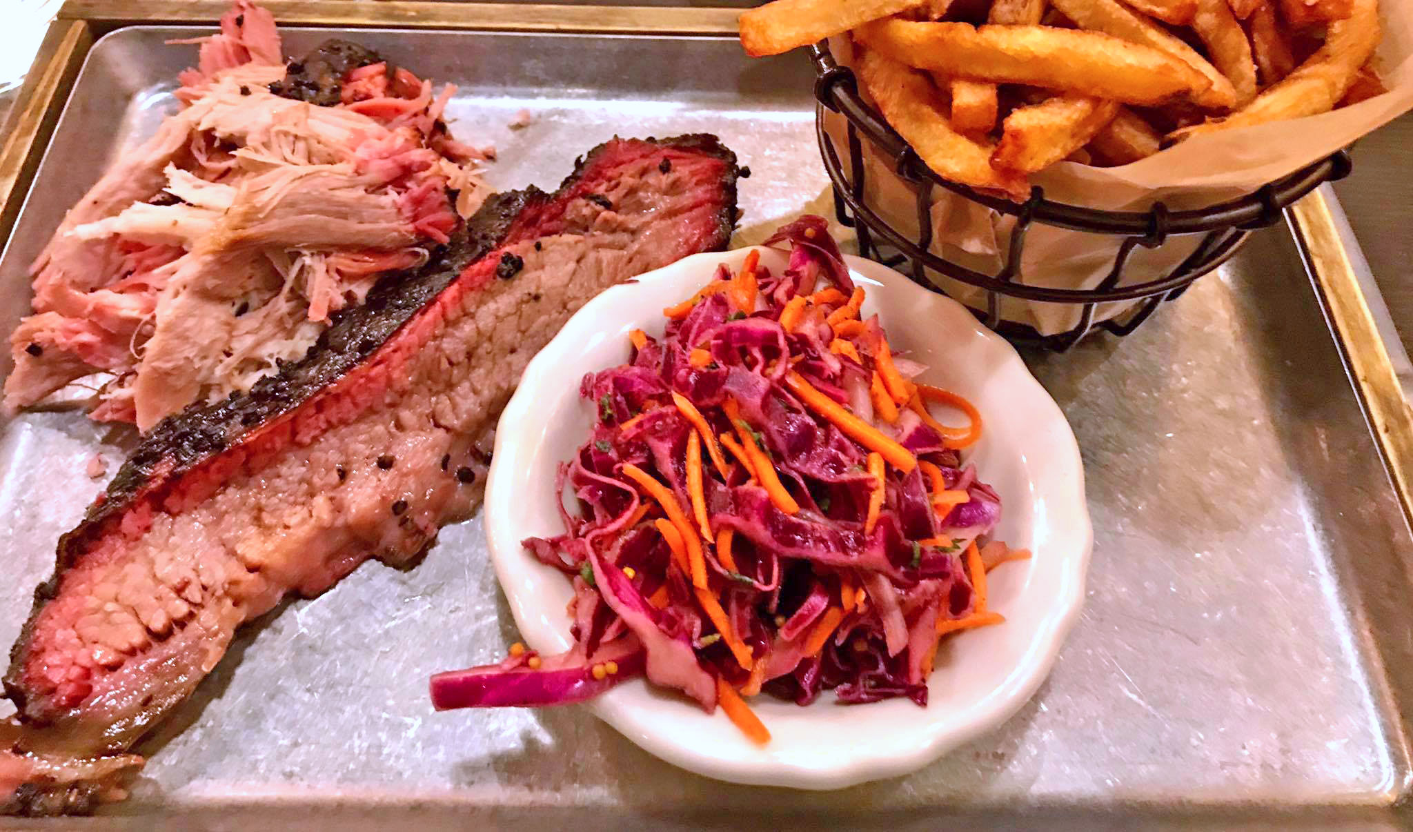Sliced Brisket (Lori's favorite), with fries and Purple Slaw