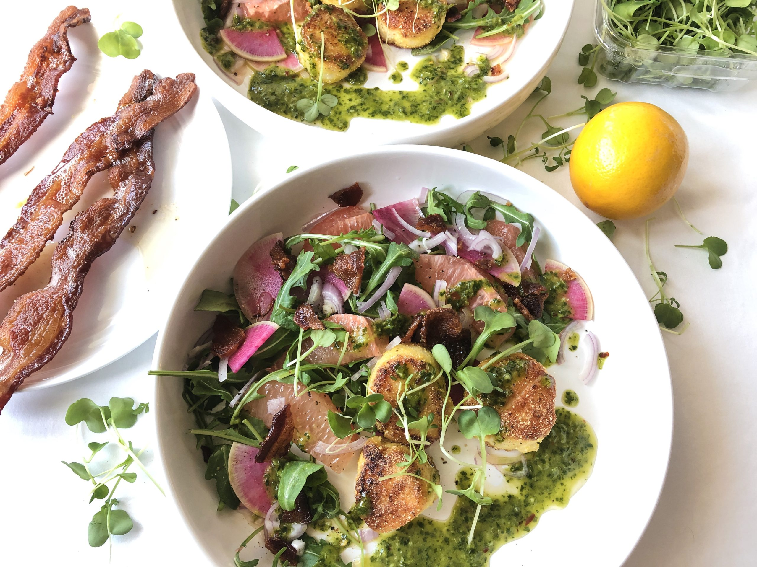 Scallops with Grapefruit, Bacon and Chimichurri Recipe