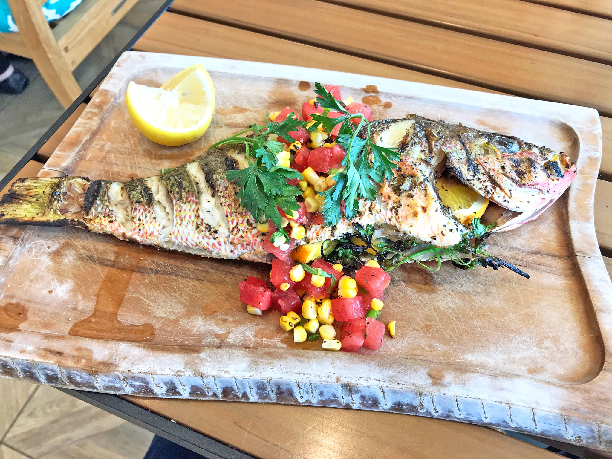 Grilled Whole Yellow Tail Snapper
