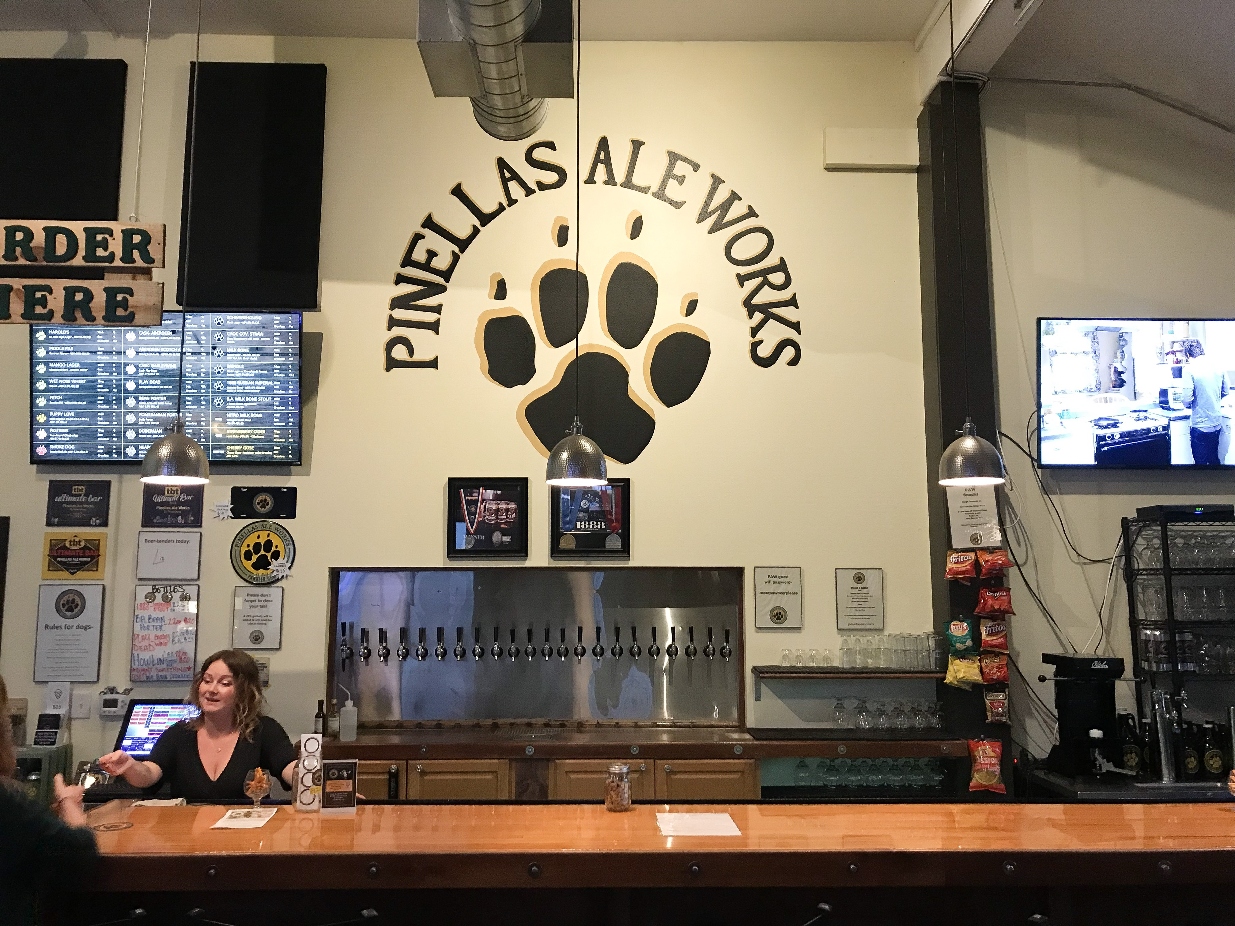 Behind the bar of PAW