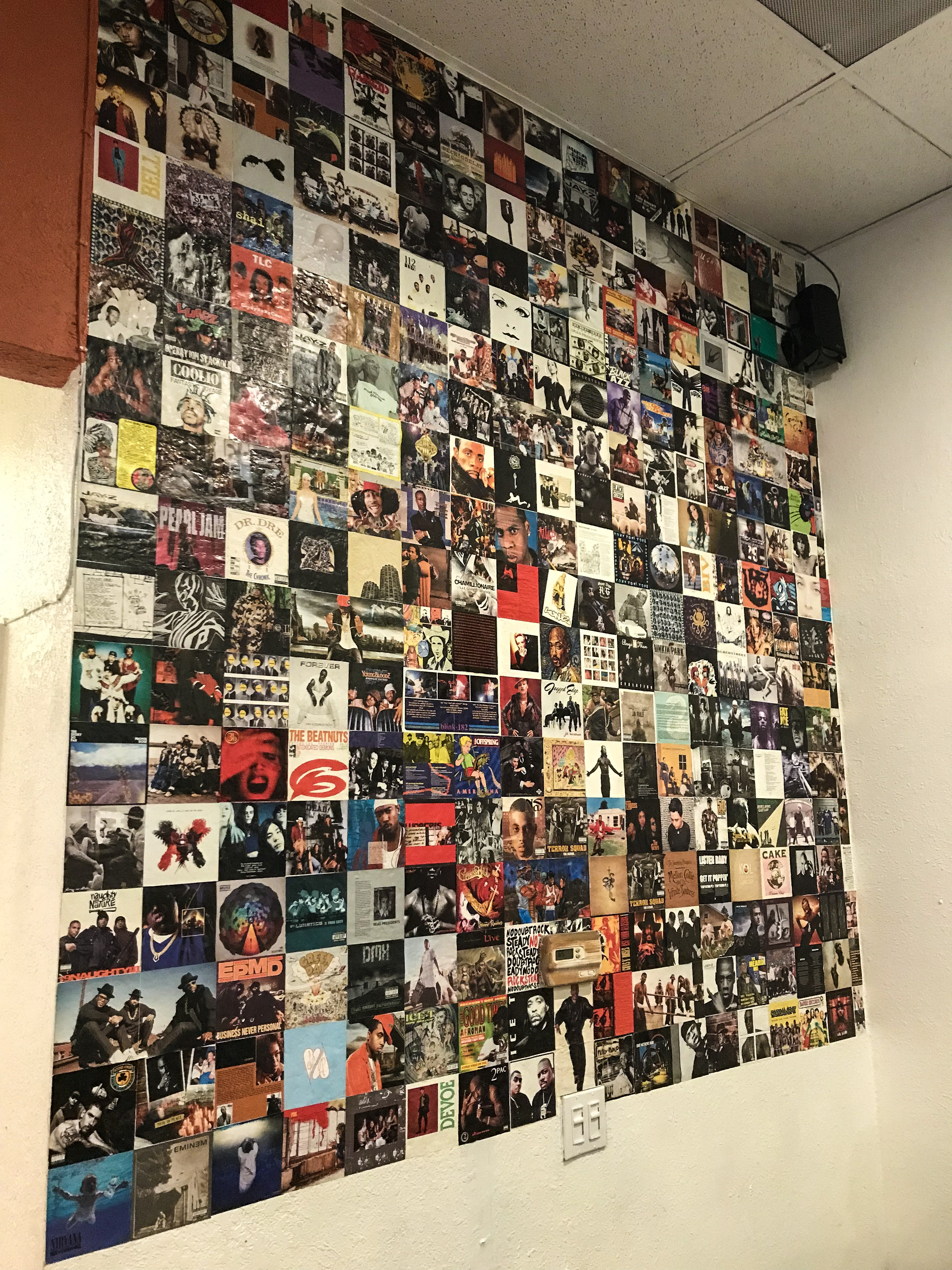 CD Album covers on the wall inside the brewery