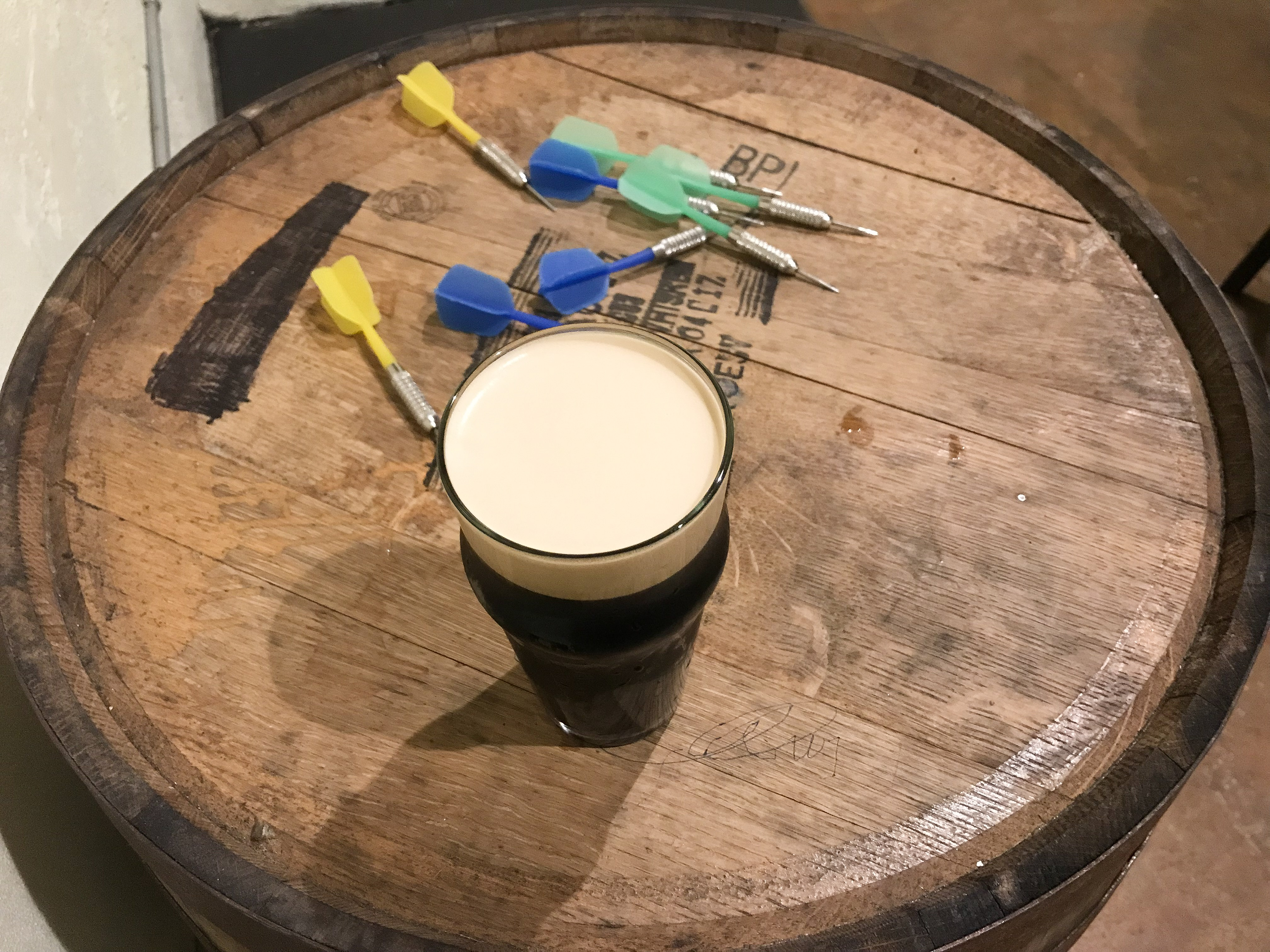 Milk Bone stout and darts