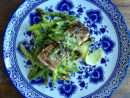 Crispy-Skinned Salmon with Asparagus, Snap Peas and Miso-Ginger Sauce