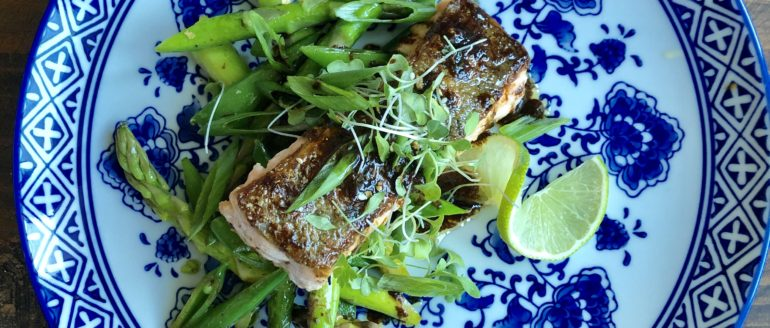 Crispy-Skinned Salmon with Asparagus, Snap Peas and Miso-Ginger Sauce Recipe