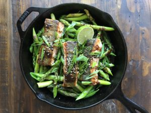 Salmon and Veggies with Lime and Green Onion