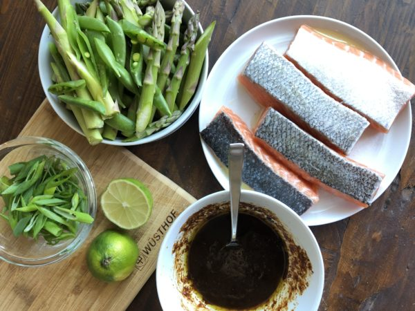 Salmon with Veggies and Miso-Ginger Sauce