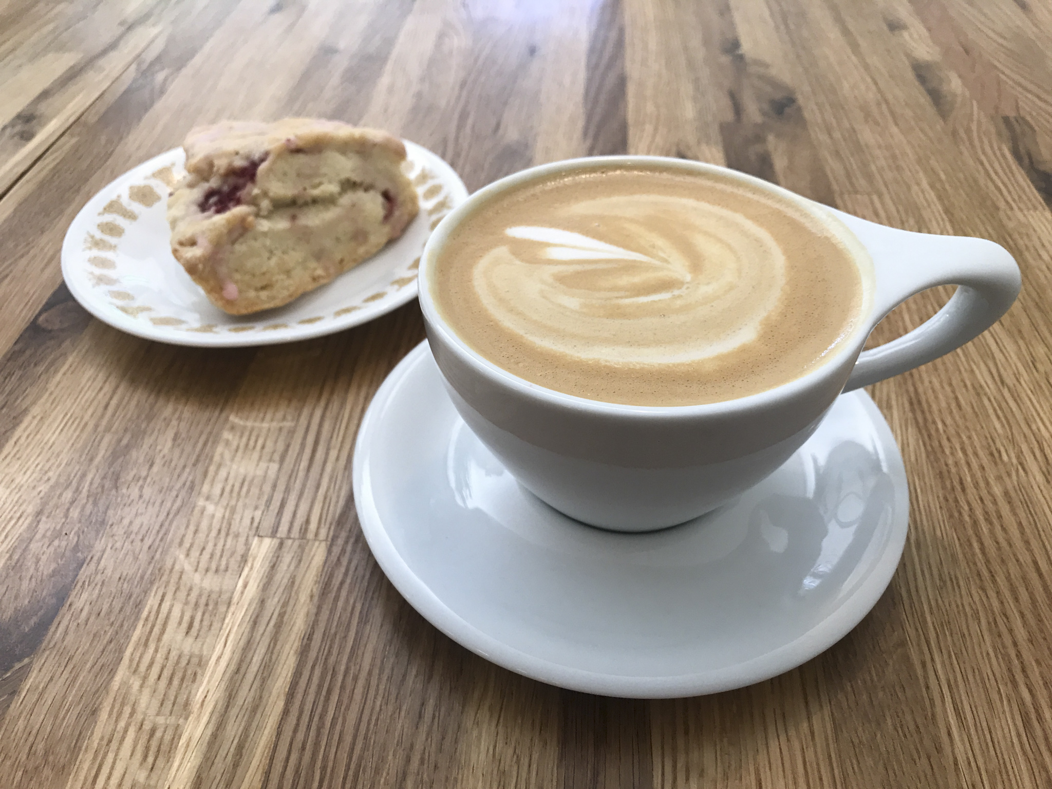 Latte with Almond Milk and Pastry