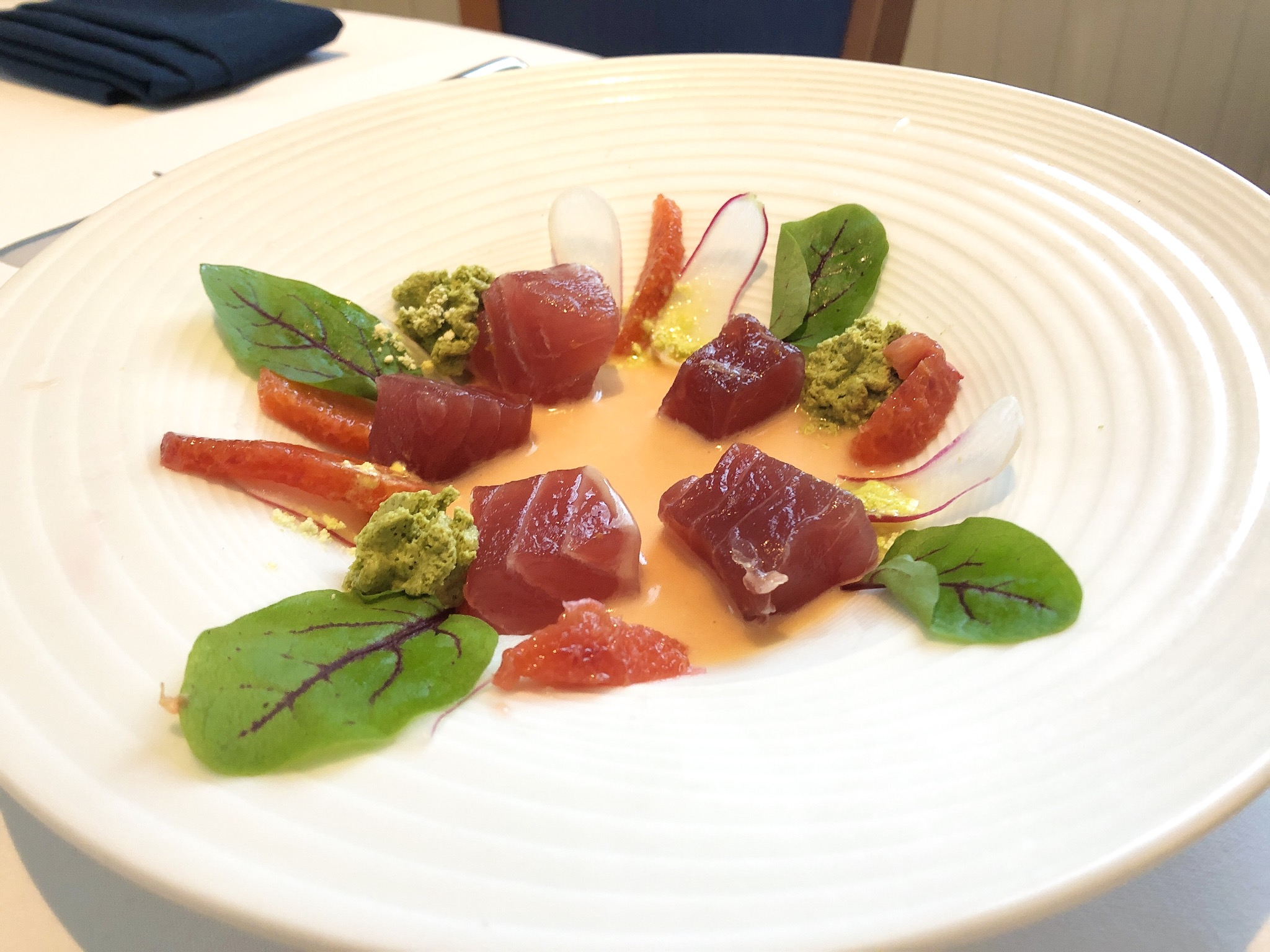 Citrus Cure Ahi Tuna with Sorrel Cream, Blood Orange Vinaigrette and Basil Powder