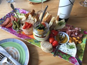 Custom Charcuterie and Cheese Board with accompaniments from Lolitas