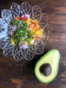 Chopped Peppers, Onion and Avocado for Ceviche