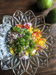 Chopped Peppers and Onion for Ceviche