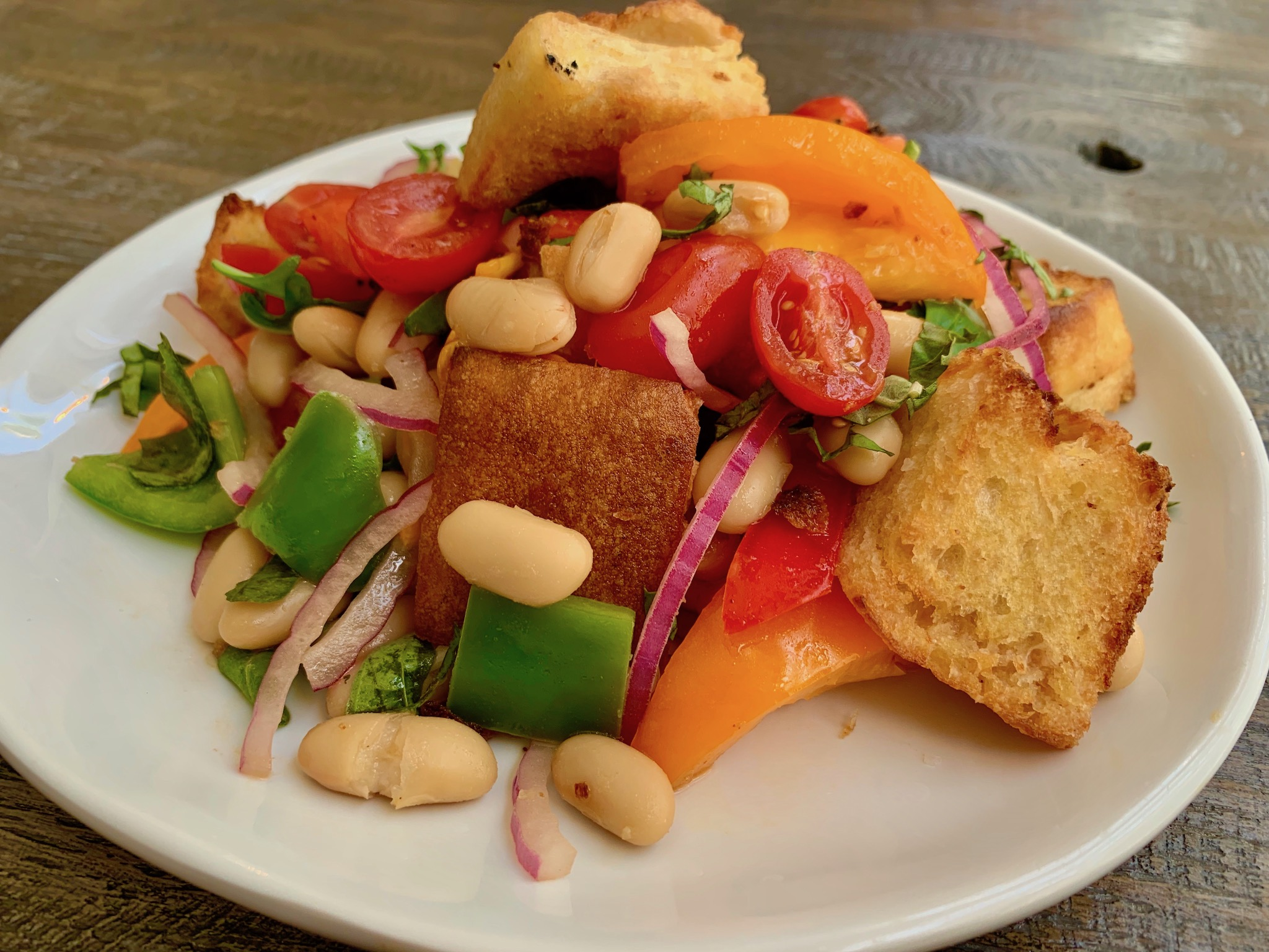 Vegan Panzanella Salad at Bacchus Brunch