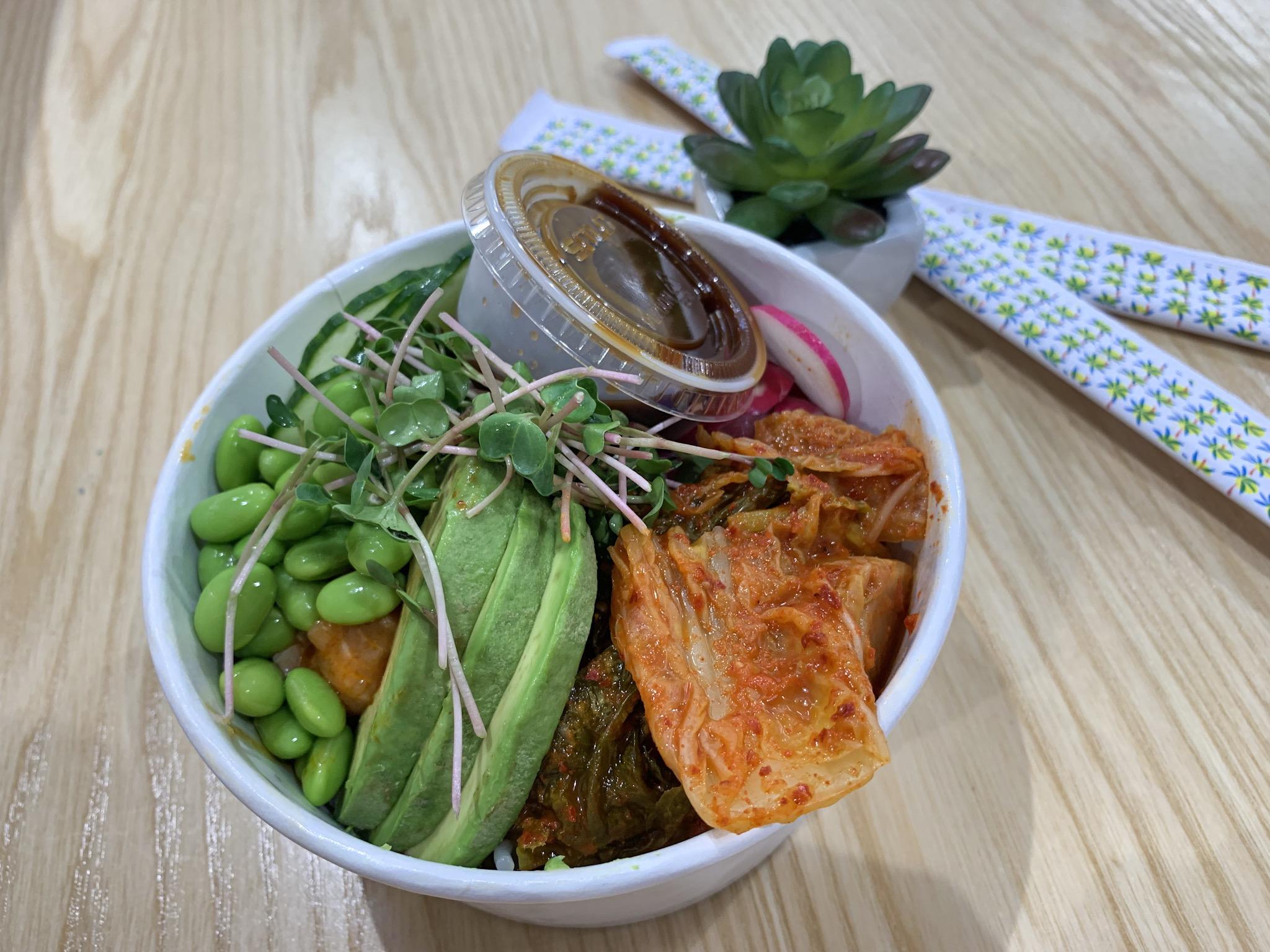 Custom Bowl with Spicy Tuna and Salmon, Avocado, Radish, Kimchi, Edamame and Micro-Greens