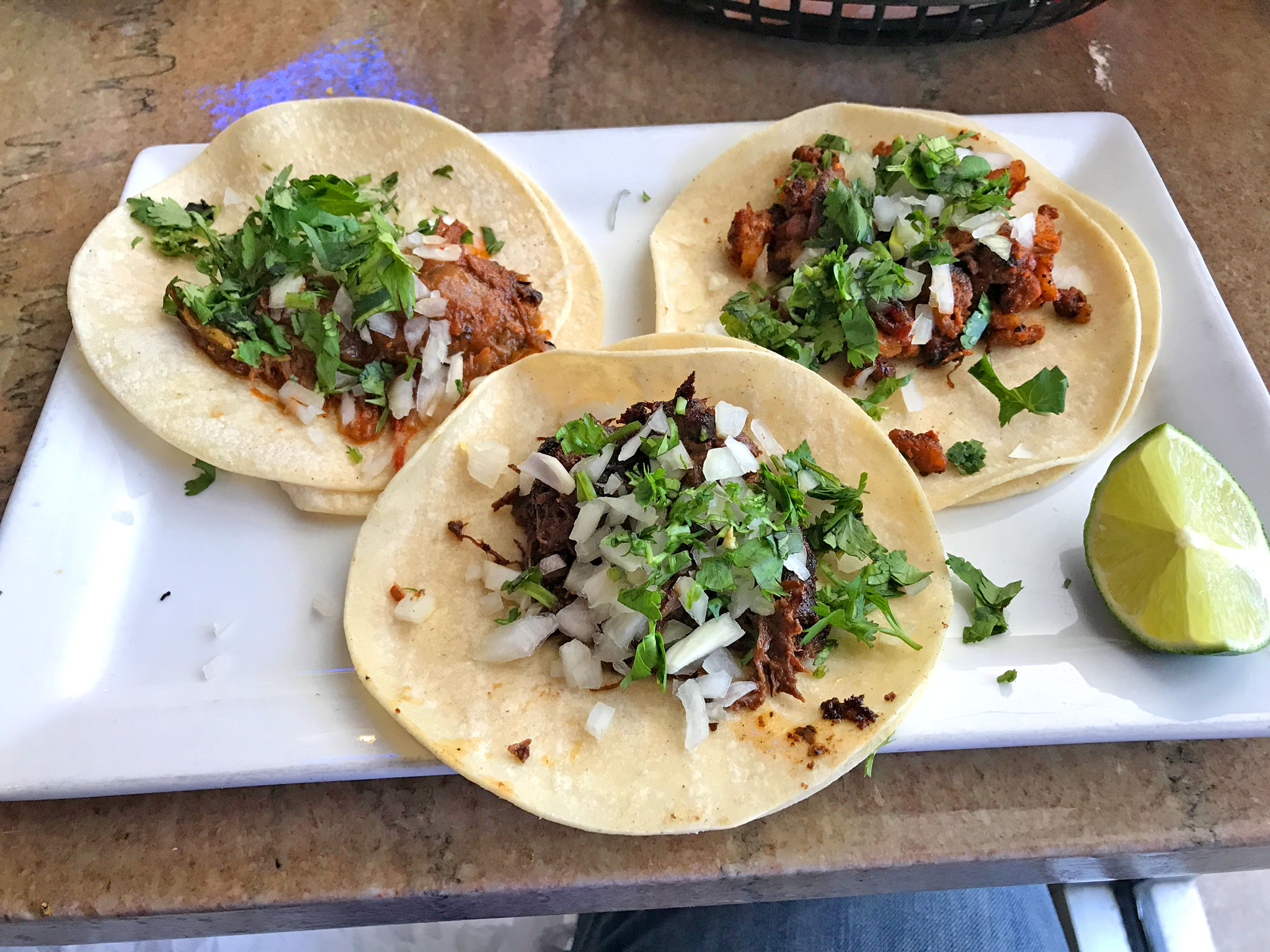 Cochinita Pibil, Al Pastor, and Steak Tacos