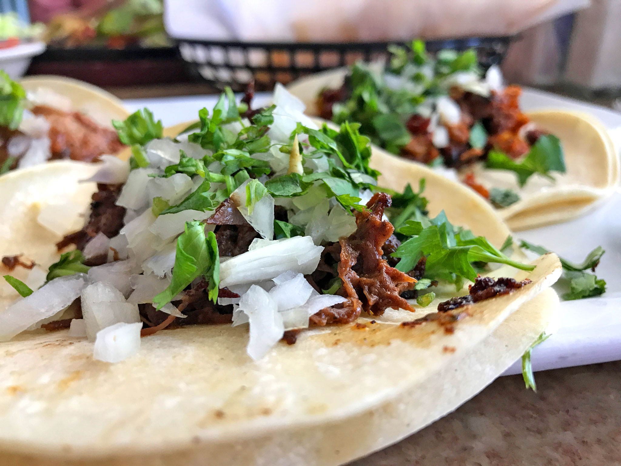 Close-up of Steak Taco with Mexican Taco Trio