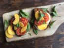 Peach and Tomato Toast with Mozzarella & Basil