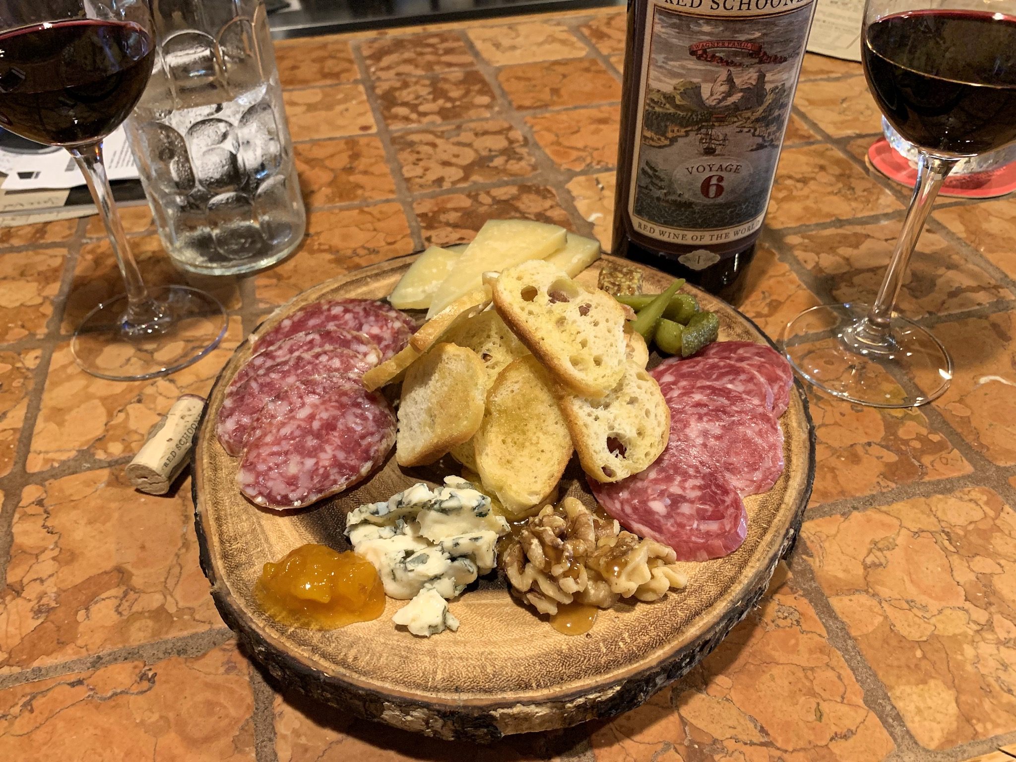 Charcuterie board at Sola Bistro with Red Schooner