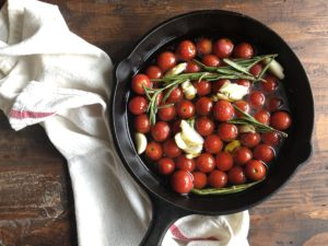 Cherry Tomato Confit prior to hitting the oven