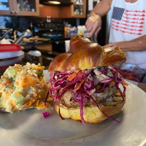 Fishmonger Tuna Burger with a Side of Double Barreled Potato Salad