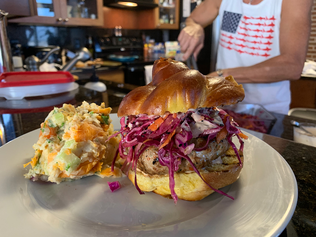 Fishmonger Tuna Burger with a Side of Double Barreled Potato Salad