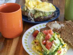 Avocado Toast and Veggie Omelette