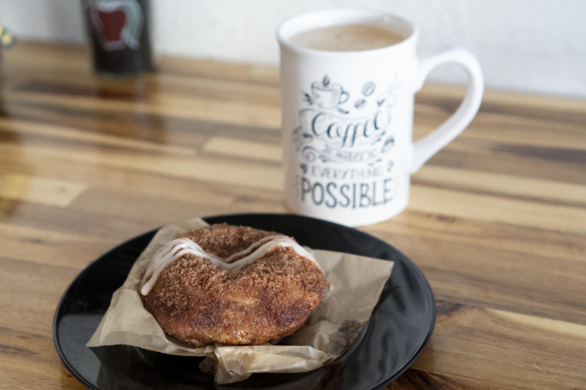 Cinnamon Sugar Donut (Vegan) and Vanilla Almond Milk Latte