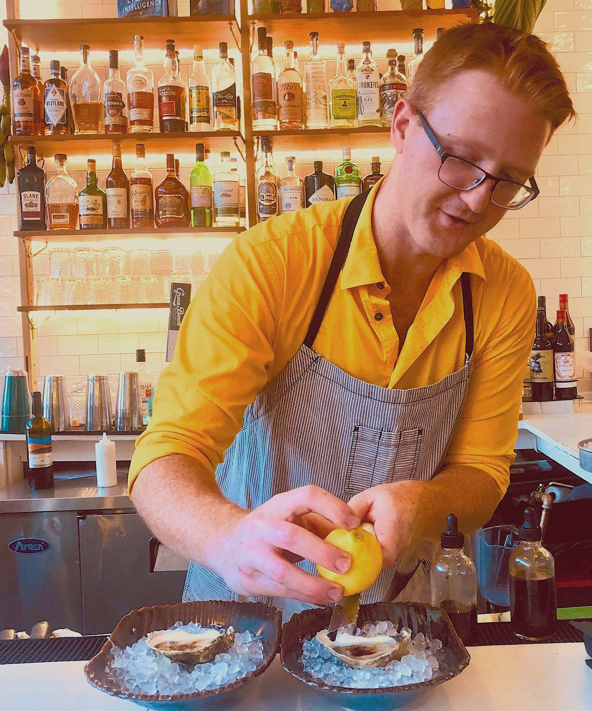 David Morris prepares the perfect oyster.
