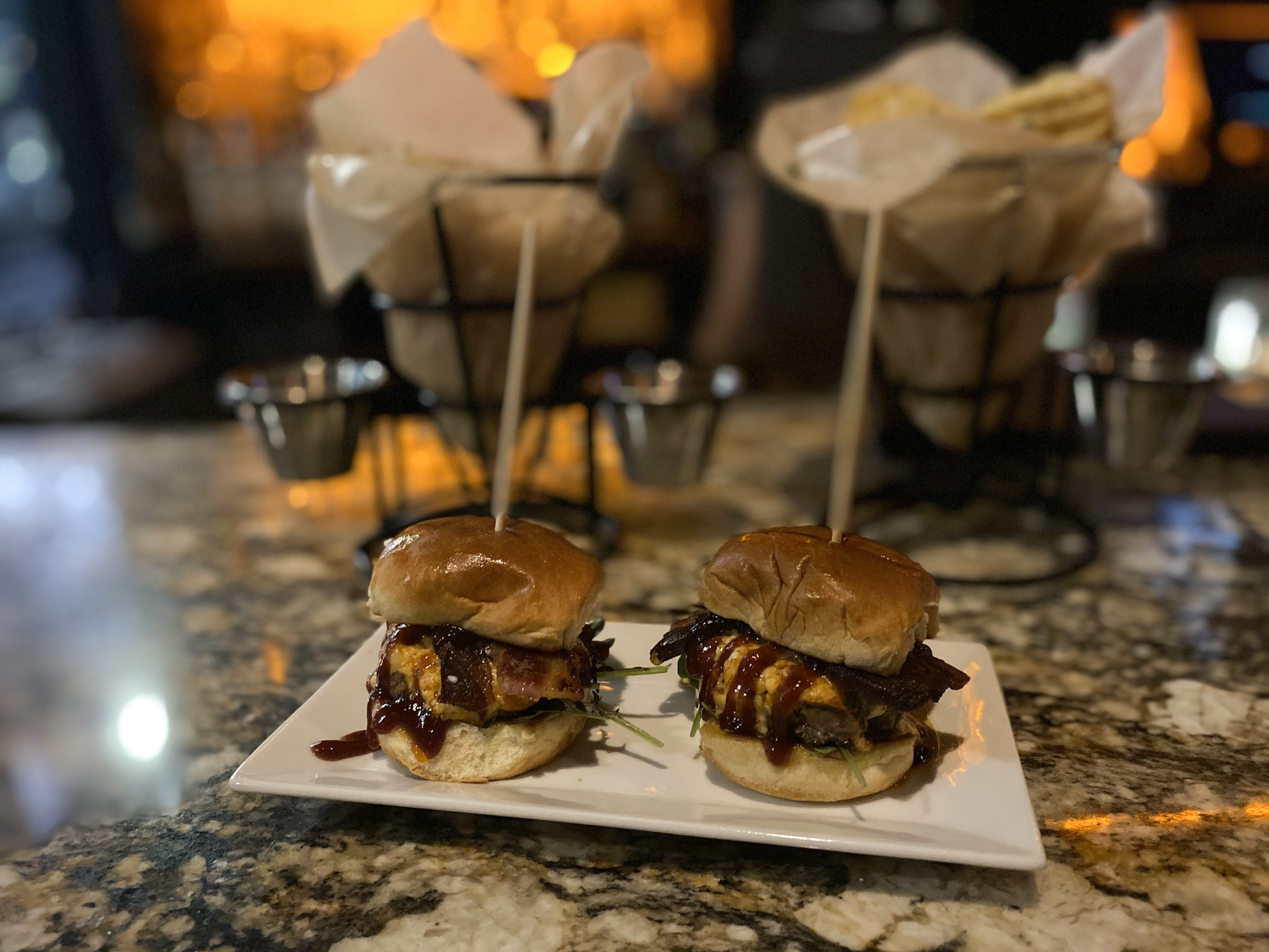 The Throwback Sliders from the happy hour menu