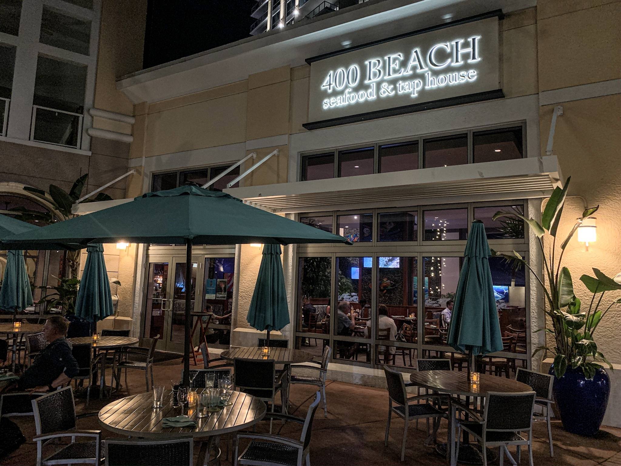 The exterior of 400 Beach at night