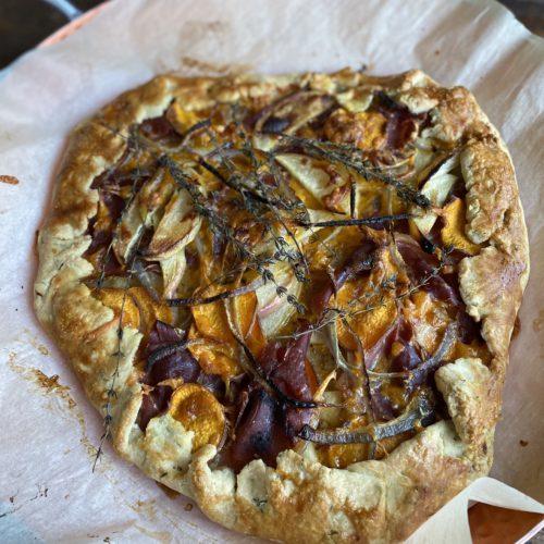 Sweet Potato, Prosciutto and Apple Galette