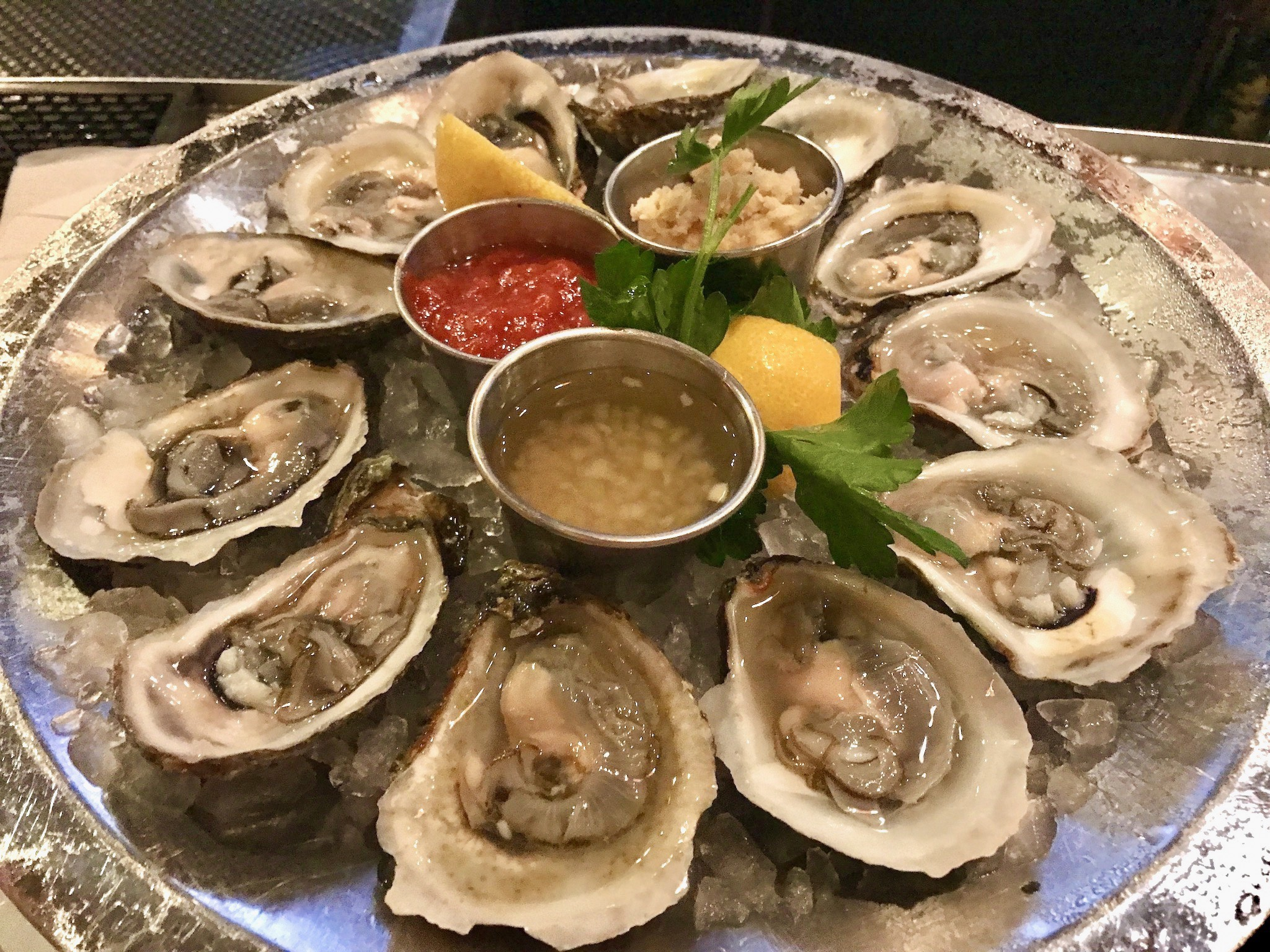 Oysters on the halfshell at Parkshore Grill
