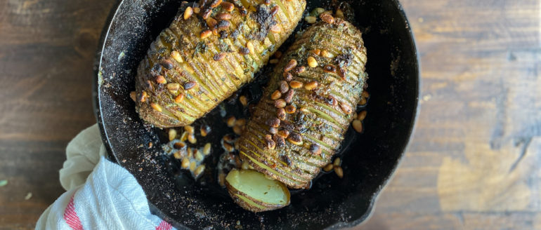 Skillet Hasselback Potatoes with Herb Butter
