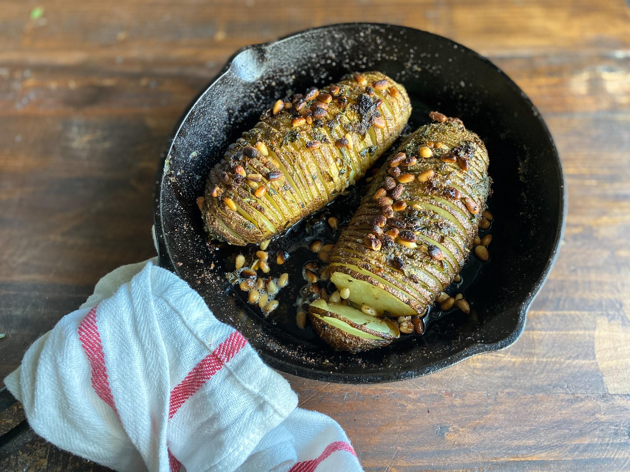 Hasselback Potatoes with Herb Butter with a different angle
