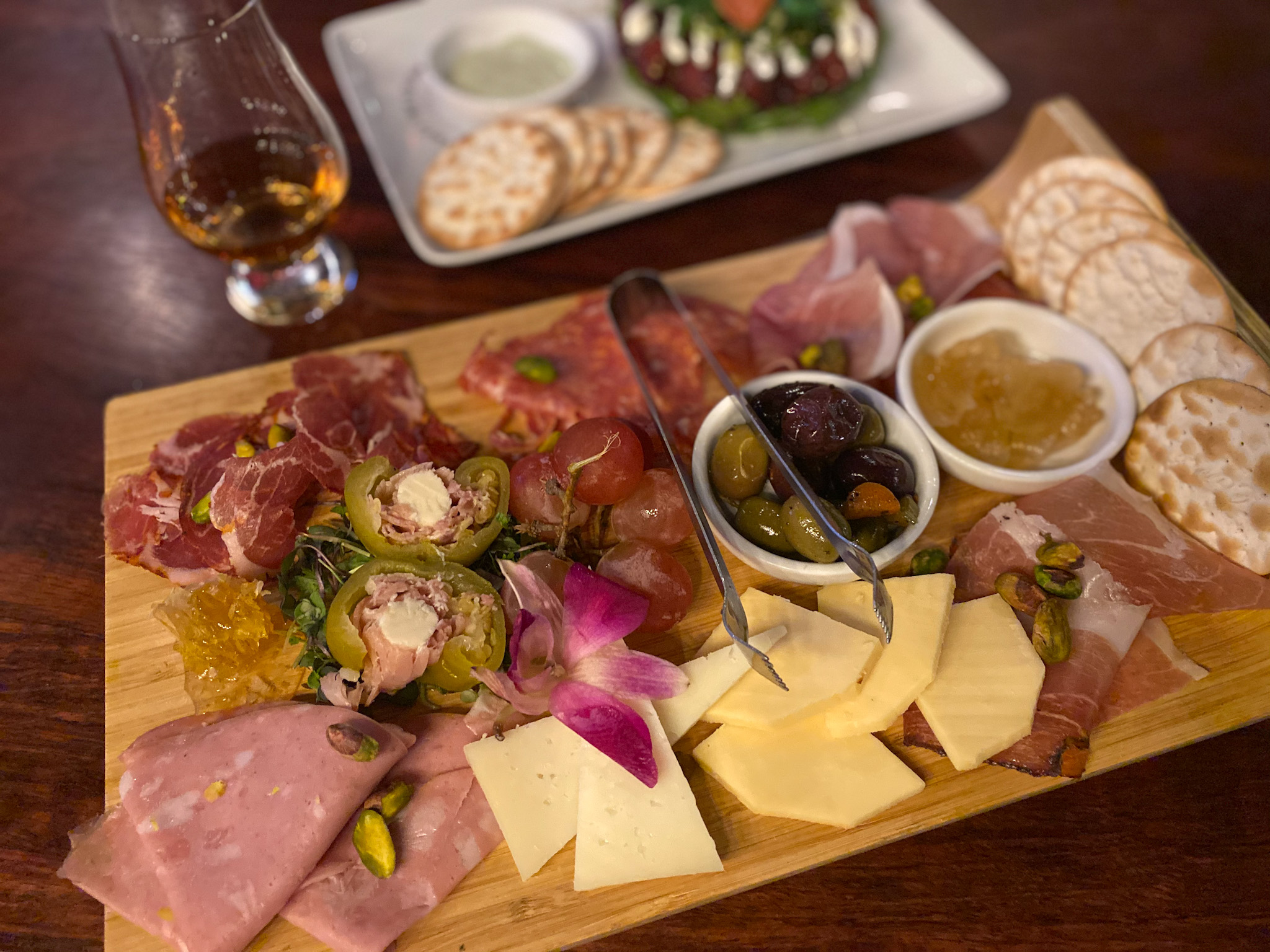 Charcuterie board at Flute and Dram