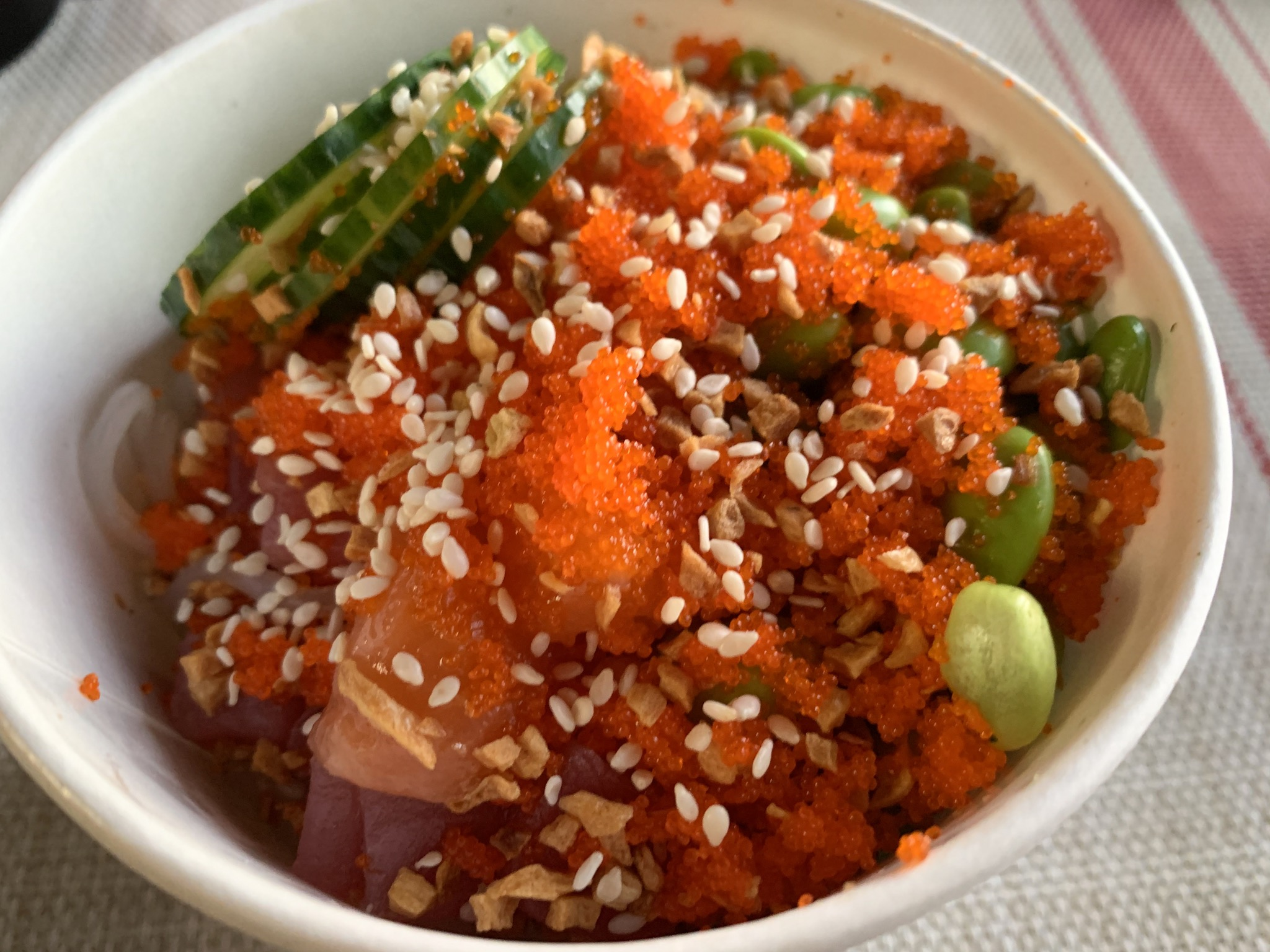 Small Salmon Bowl with sweet potato noodles, edamame, cucumber, masago and sesame seeds from Pacific Counter