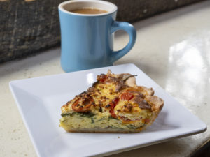 Fresh Brew and Tomato, Spinach, Feta Quiche of the Day