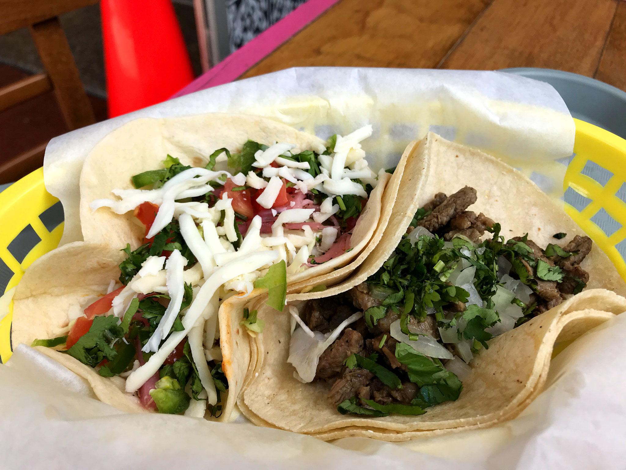 Grumpy Gringo Street Taco (R) Cochinita Pibil Taco (L)
