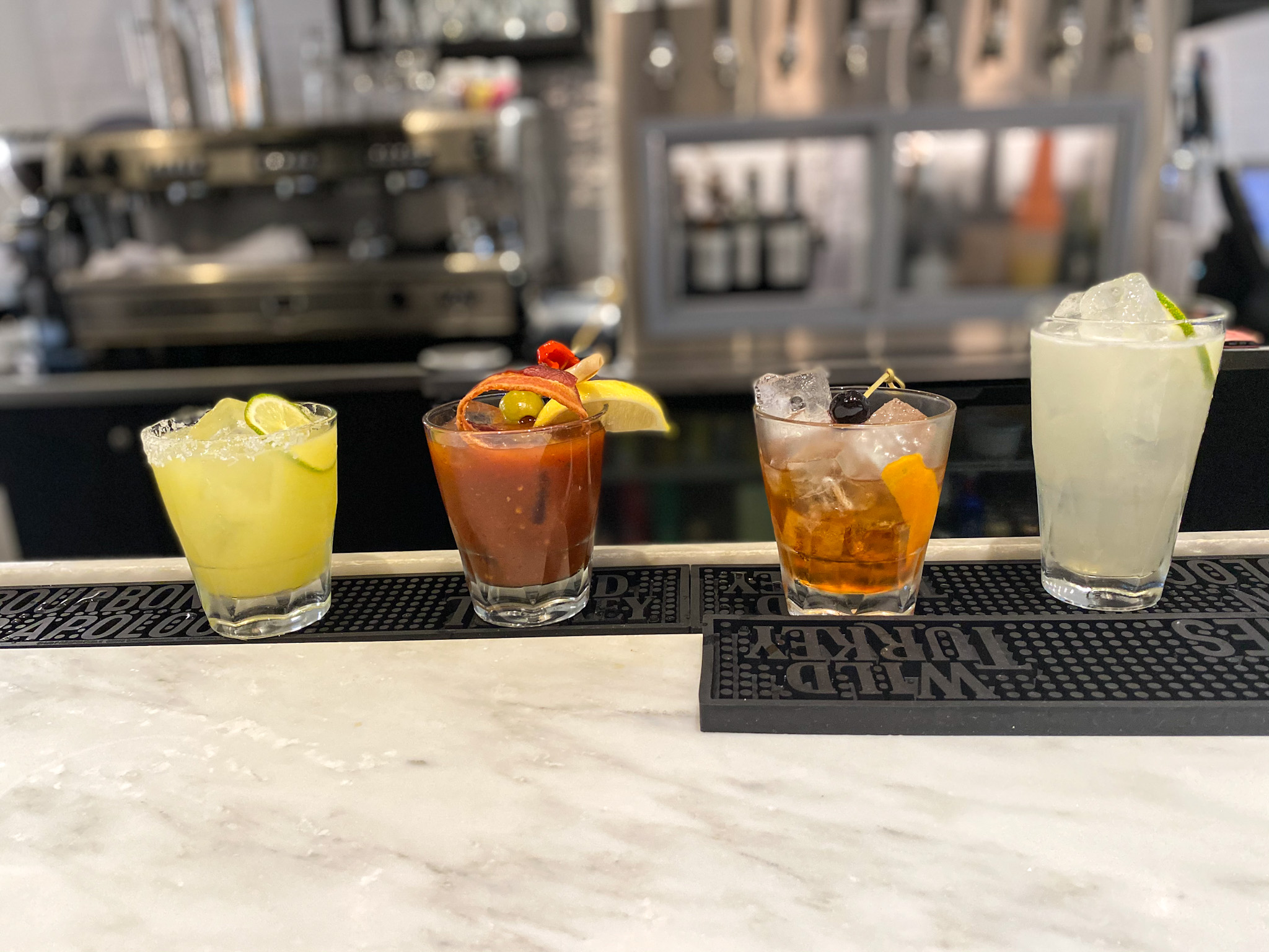 From left, to right: Margarita, Bloody Mary, Old Fashioned and Moscow Mule