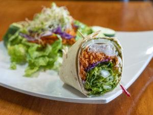 Turkey Pesto Wrap and Garden Salad