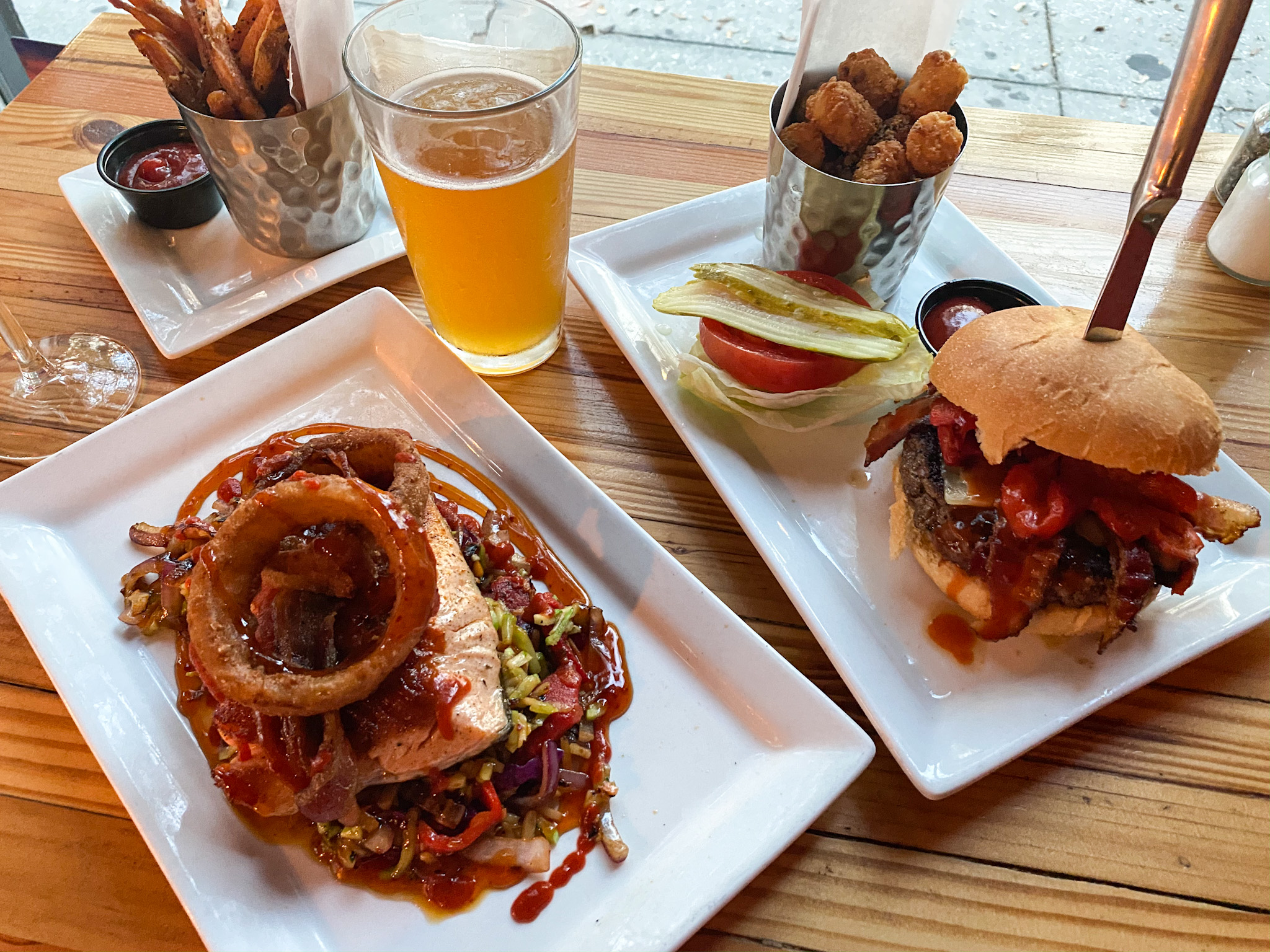 The Black Flag Burger, Sriracha Salmon, tots and sweet potato fries