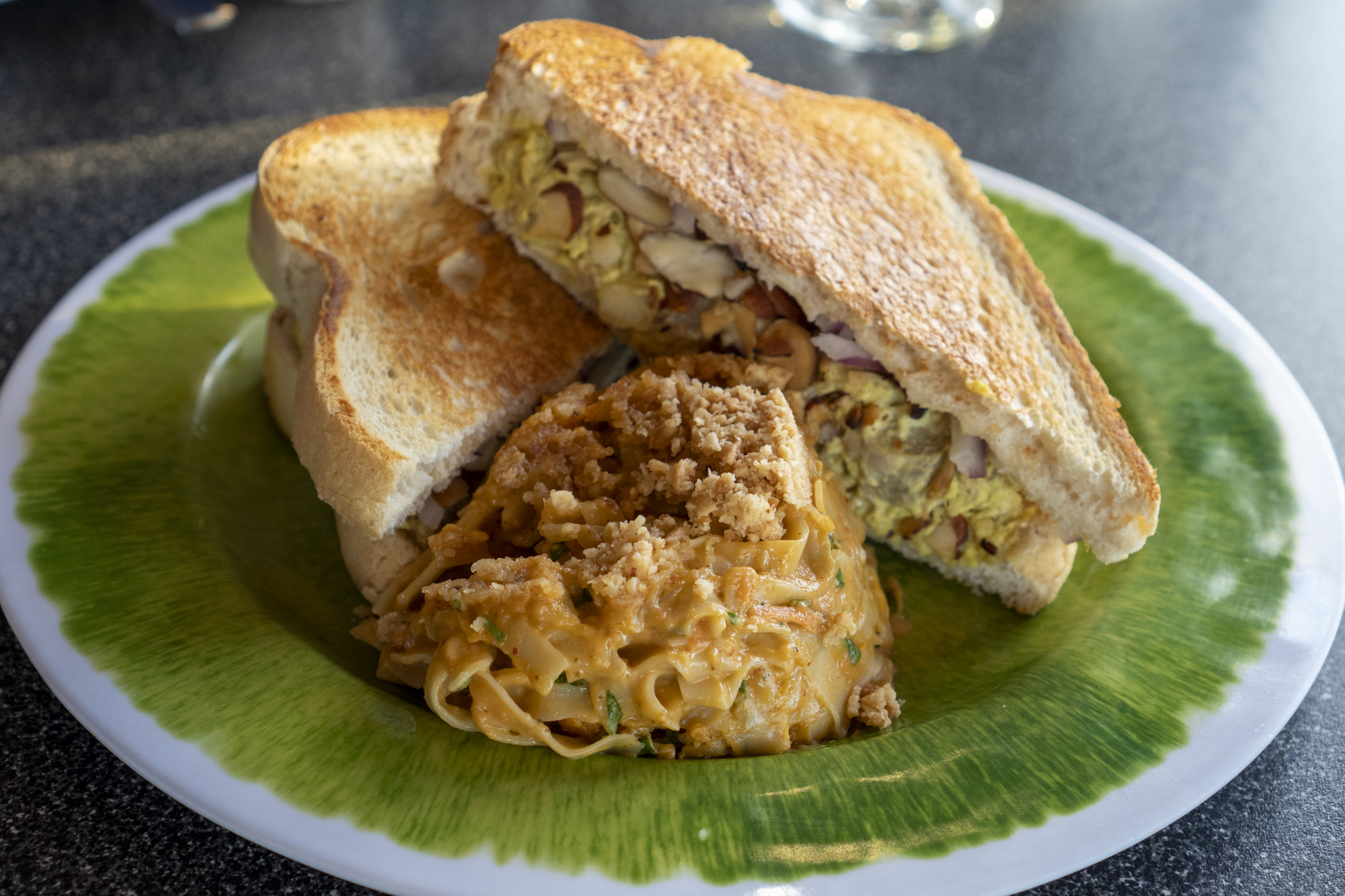 Yellow Curry Chicken Salad Sandwich and Noodles with Peanut Sauce