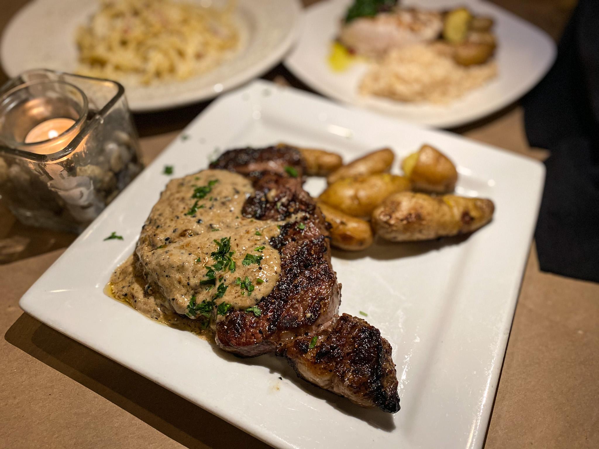 Sterling's Ribeye. 16 oz Maker's Mark au poivre sauce, black peppercorns and rosemary fingerling potatoes