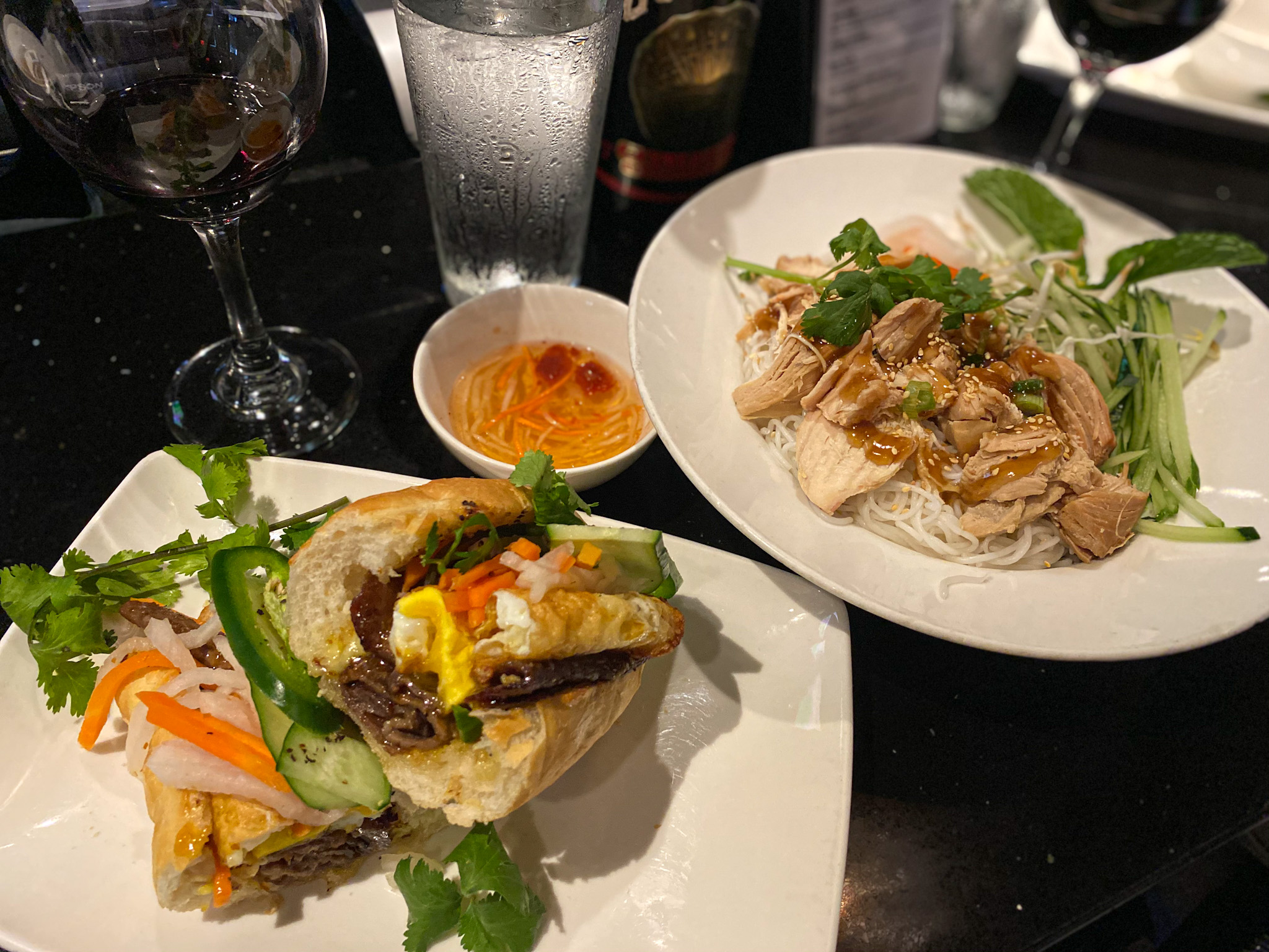 Lemongrass Beef sandwich and the Vermicelli Bowl