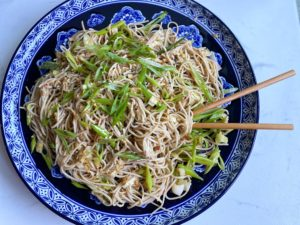 Soba Salad Finished Product with Chopsticks