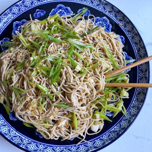 Soba Salad Finished Product with Chopsticks