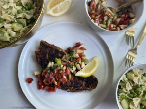 Blackened Snapper with Summer Farfalle Pasta Salad