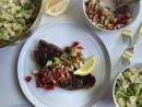 Blackened Snapper with Strawberry-Tomato Salsa & Summer Farfalle Pasta Salad Recipe