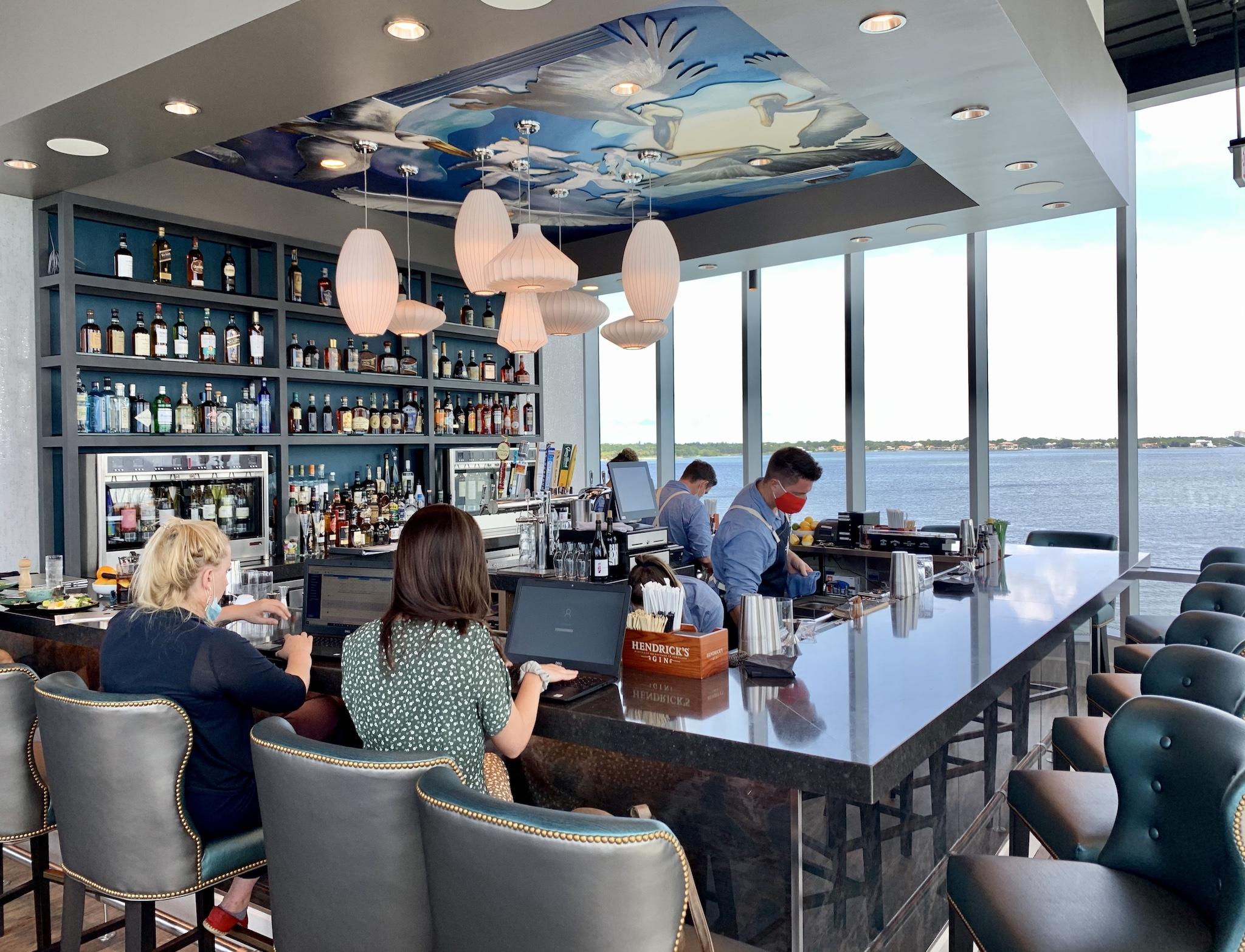 Teak Bar facing Tampa Bay's open waters.