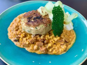 Crab Cake - potato crusted lump crab, Big Easy style corn, seaweed tuile and celery salad