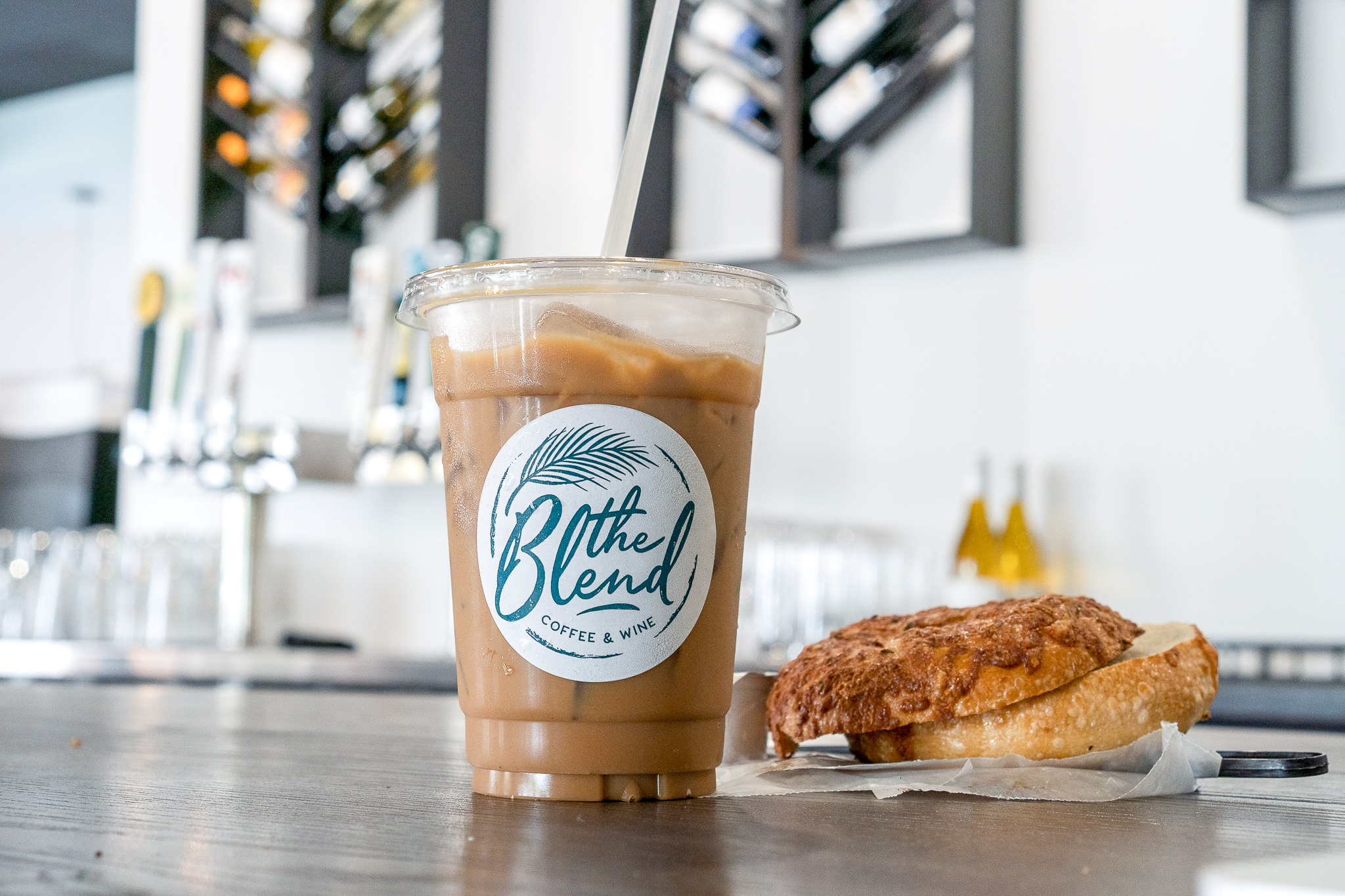 Iced Coffee with Almond Milk and Asiago Cheese Bagel